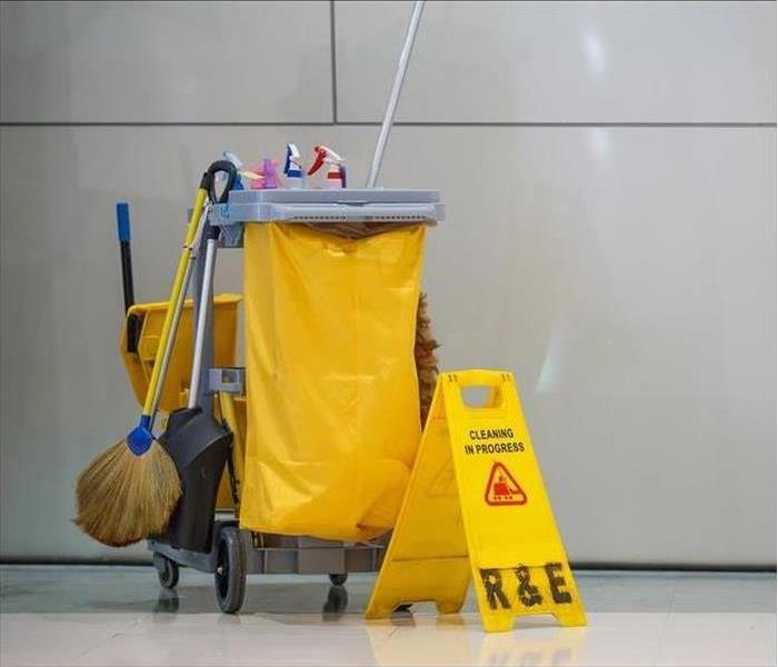 Commercial cleaning equipment in an office building
