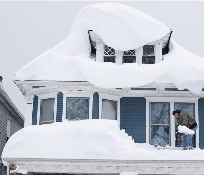 A snow-covered house