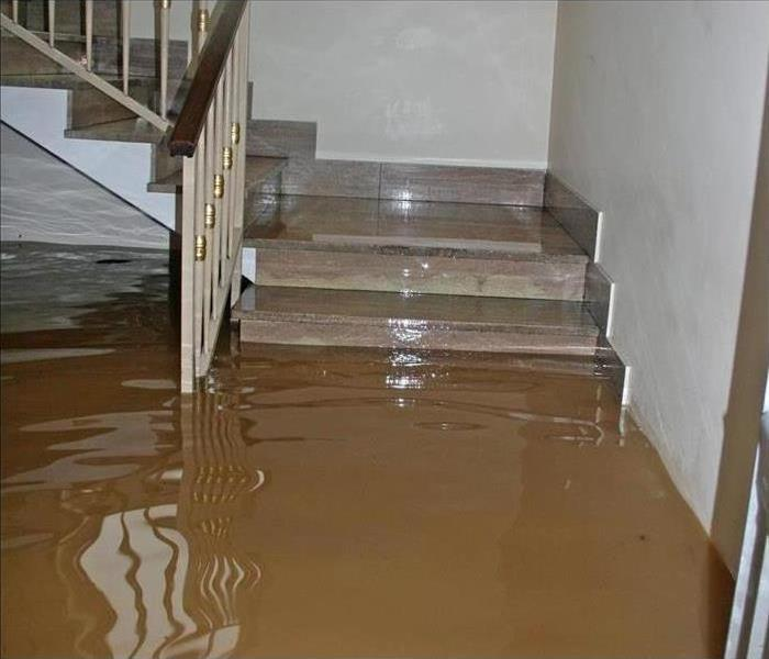 A home's interior staircase flooded with brown storm water